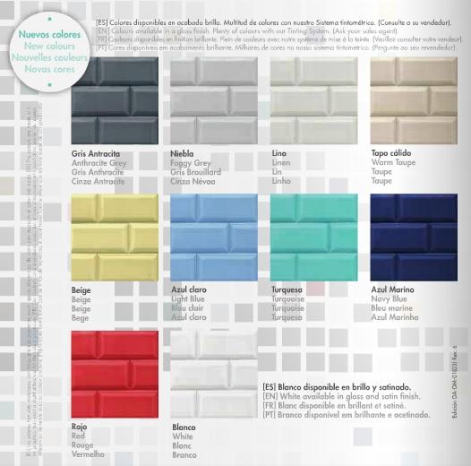 Blatemlux azulejos ampl a su carta de colores pinturas - Azulejos de colores ...