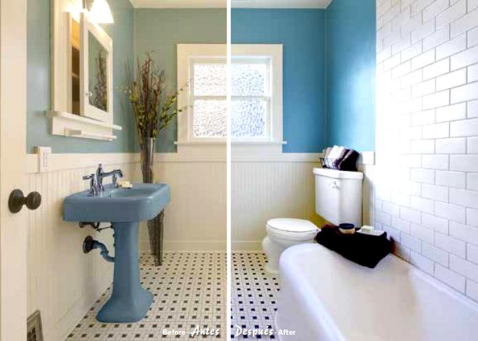 Blatem cer mico un completo lavado de cara para tu cuarto de ba o pinturas blatem - Pintar azulejos de bano antes y despues ...